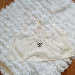 Victoria's Secret Cream Crochet Crop Swim Cover